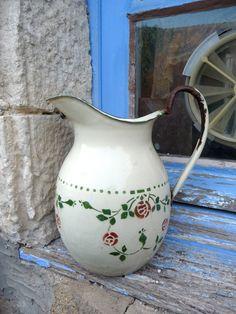 Antique french enamel pitcher pot Art deco floral by petitbrocante