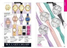 Take a look at these beautiful, trendy watches!  Avon has a buy 1 get 1 50% going on right now at my eStore: https://www.avon.com/promotions/jewelry