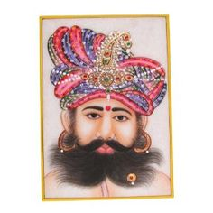 Asian Art Embossed Miniature Painting On Marble Plate Of The Indian Maharaja With A Turban: Amazon.co.uk: Kitchen & Home