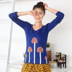 Murshroom Appliqué Sweater from #YesStyle <3 59 Seconds YesStyle.com