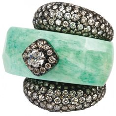 Aqua jade and diamond ring by Bochic
