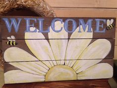 Welcome Rustic Primitive Handmade Plaque Sign Wood Home Daisy Flower Bumble Bee  #Handmade #RusticPrimitive