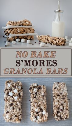 These no bake s'mores granola bars are a delicious, portable take on s'mores that don't require a campfire to make. Heck, they don't even require an oven. All you need is a microwave and 5 Homemade Granola Bars, No Bake Granola Bars, Homemade Bar, Healthy Granola Bars, Homemade Snickers, Homemade Breads, Baked Smores, Yummy Treats, Sweet Treats