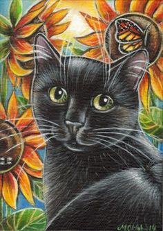 Black Cat Sunflowers - Summer Painting