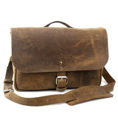 NEW  14 Distressed Tan Courier Mail Bag  Laptop by CopperRiverBags