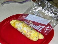 17 Day Diet Gal: Ziploc Omelet (C1) mix 2 eggs and omelet veggies in quart size ziploc bag then squeeze out air and securely close, then put bag in rolling boiling water for 13 minutes and serve.