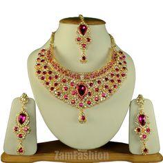 Indian Wedding Party Jewellery Necklace Earrings Maangtikka Set Magenta S821