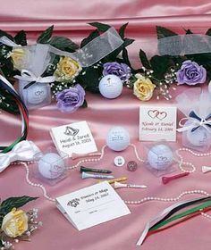 Personalized Golf Wedding Favors All Items On Table