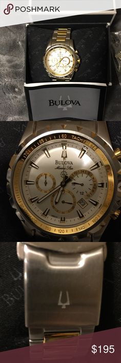 BWT Men's Bulova Chronograph watch Beautiful NWT watch bought for hubby. He has never worn it😩. Retail was $399, I paid $280. Box, links, instructions are still in the box. Bulova Accessories Jewelry