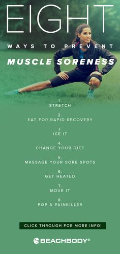 Aching after a brutal workout? Delayed-onset muscle soreness (DOMS) can make you feel the burn while your muscles recover and rebuild. But if you take the right steps after your workout you can go hard without paying the price. Here are 8 easy ways to p Ten Minute Workout, Step Workout, Post Workout, Workout Schedule, Workout Soreness, Muscle Soreness, 21 Day Fix, Easy Workouts, At Home Workouts