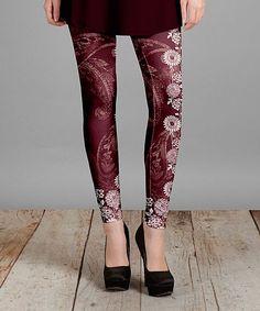 Burgundy Floral & Paisley Leggings - Plus Too