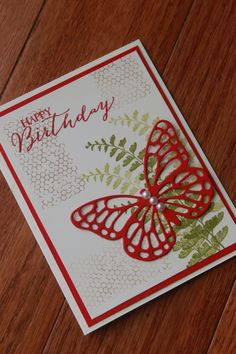 Stampin' Up! Butterfly Basics, Happy Birthday card, Stampin' Up Real Red, Old Olive, Crumb Cake. Stampin' Up! Butterflies Thinlits dies.   – 101 Projects with Rebecca