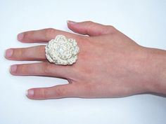 Statement Ring Crocheted Ring Cream Crocheted Rose Ring by lotr01 https://www.etsy.com/listing/240482173/statement-ring-crocheted-ring-cream?ref=shop_home_active_1