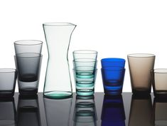Kaj Franck ~ Kartio ~ Waterpitcher and drinking glasses for Iittala ~ Glass Modern Contemporary, Shot Glass, All In One, The Originals, Tableware, Accessories, Magazine, Drinking, Juice