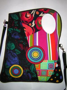 BAG mixed fabrics in Black-Blue-Green-Red-Pink with Circles