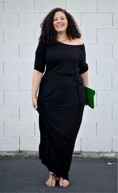 Black Plus Size Long Dress L-XXXL