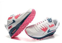 newest 478ae ca030 Nike Air Max 90 Womens Leather White Pink Deep Blue Running