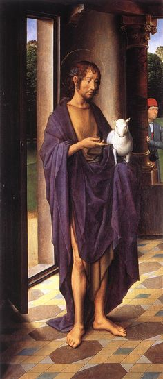 The Donne Triptych left wing Hans Memling Northern Renaissance The Donne Triptych olie op paneel , 70 x 30 cm National Gallery, London, UK Hans Memling, Hans Holbein, Religious Paintings, Religious Art, National Gallery, John The Baptist, Art Graphique, Renaissance Art, Renaissance Paintings