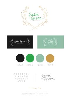 Eva Black Design | Blog: Recent Brand : Ember Grove - I like the light green used here and the organic elements of the logo