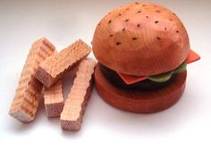 Wooden Hamburger and French Fries play food