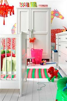White + colours - bright and cheerful child's room.