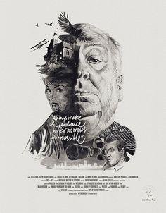 Pôsteres ilustrados homenageiam grandes diretores de Hollywood.