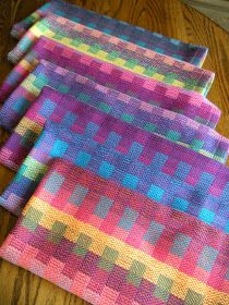 Seven different hues of summer rainbows done in a block taquette stucture. This towel is from the same warp but treadled as plain weave. I was attempting to use all the various colored bobbins I had Weaving Textiles, Weaving Patterns, Loom Weaving, Hand Weaving, Rainbow Blocks, Types Of Weaving, Weaving Projects, Weaving Techniques, Bunt