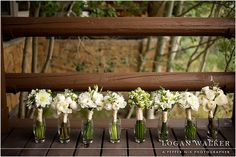 white wedding party bouquets. white roses and white peonies. #loganwalker
