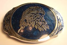 Vintage ADM Beautiful Silver Silvertone With Blue Inlay Eagle Belt Buckle