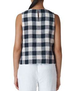 Buy Whistles Gingham Check Linen Shell Top, Navy/Multi, 8 from our Women's Shirts & Tops range at John Lewis & Partners. Free Delivery on orders over Western Tops, Shell Tops, Gingham Check, Cute Summer Outfits, Sewing Clothes, Victorian Fashion, Dressmaking, Blouse Designs, Fraternity Collection