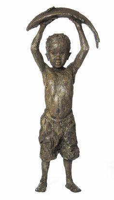 brown - child with fish - Triumph! Sculptures Céramiques, Sculpture Clay, Bronze Sculpture, Ceramic Texture, Clay Figures, Stone Art, Beautiful Children, Garden Art, Arrow Keys