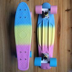 "Fade Pastel Plastic Skateboard  Mini Cruiser Complete 22"" x 6"" Longboard Boy Girl Retro Skate Board"