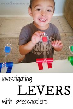 Investigating Levers with Preschoolers {For your convenience, this post may contain affiliate links} Before I had my boys I was a grade teacher and one of my favorite units to teach was Simple Machines. There were so many incredible hands-on lear Kindergarten Science, Preschool Classroom, Preschool Learning, Teaching Science, Science For Kids, Science Experiments, Summer Science, Science Fun, Physical Science