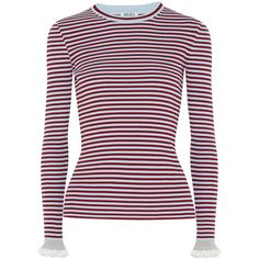 KENZO Striped ribbed cotton-blend sweater ($320) ❤ liked on Polyvore featuring tops, sweaters, multicolor striped sweater, layered sweater, kenzo sweater, ribbed sweater and ruffled sweaters