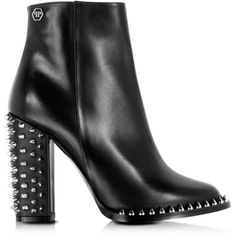 Philipp Plein  Shoes Shine Black Leather Low Boot w/Studs ($1,165) ❤ liked on…