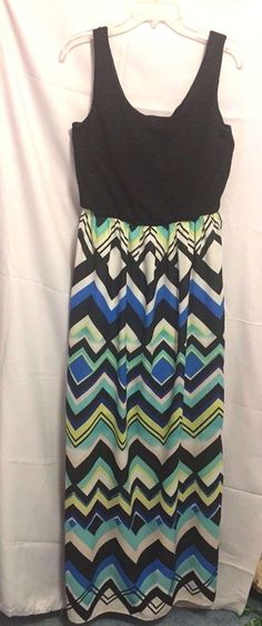 Luxology Long Dress Black Stretch Top Geometric Full Skirt Size L Poly Spandex C #Luxology #LongDress #Clubwear