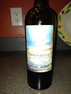 """Jimmy from the band Train has a wine label """"Save Me San Francisco"""". This is """"Drops of Jupiter"""" red blend. Yummy. A bit sweeter than I usually like, but very drinkable. $8.99 at Target"""
