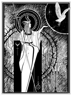 """Stag & Serpent Line art for """"Celestial Lineage"""" (2011) (artwork used as tour poster for Wolves In The Throne Room)"""