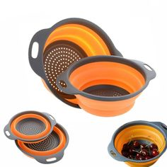 Cheap Colanders & Strainers, Buy Directly from China Suppliers:Foldable Silicone Colander Fruit Vegetable Washing Basket Strainer Strainer Collapsible Drainer With Handle Kitchen Tools Kitchen Handles, Kitchen Cupboards, Kitchen Utensils, Kitchen Tools, Kitchen Gadgets, Kitchen Time, Bbq Kitchen, Kitchen Aprons, Kitchen Cleaning