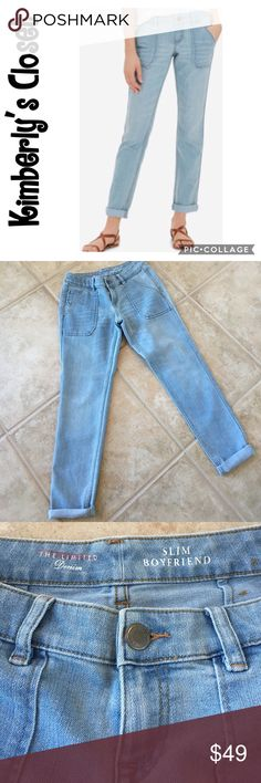 "🛍THE LIMITED Slim Boyfriend Jeans🛍 Brand new without tags - The Limited slim boyfriend jeans.  Light blue wash.  Bottoms can be cuffed as shown in photos (cuffs are not sewn in).  Super soft denim material - 69% cotton, 30% polyester, 1% spandex.  Inseam measures 28"" (not cuffed).  Waistband measures 14.5"" across when laying flat. The Limited Jeans Boyfriend"