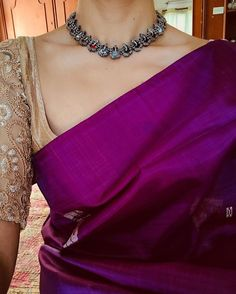 Made to Order – Page 2 – Tamara Simple Sarees, Trendy Sarees, Stylish Sarees, Saree Blouse Patterns, Sari Blouse Designs, Hijab Outfit, Purple Saree, Saree Jewellery, Plain Saree