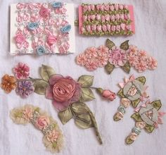 Silk ribbon work ribbonwork rose applique