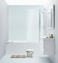 Perfect for the small bathroom - the Uniq bath tub shower screen can be placed up against any brassware when the shower is not in use. An elegant and space-saving solution.