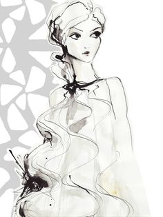 Fashion illustration - beautifully delicate, contemporary fashion drawing // Anna Schwarzer