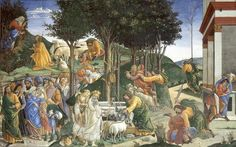 Las pruebas de Moisés, Sandro Botticelli 1481-82, Roma, Fresco de la Capilla Sixtina