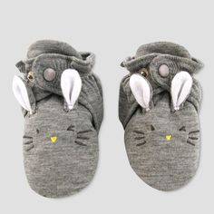 209b12e456e0 Baby Slipper Socks with Rabbit Face - Cat   Jack™ Gray   Target