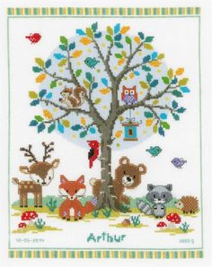 This adorable woodland gathering birth sampler is the perfect way to welcome a new child into the world!As baby grows older, he or she will enjoy pi...