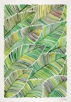 Tropical Green Art Print by Cat Coquillette Art Vert, Art Pastel, Pastel Colors, Arte Linear, Art Et Nature, Art Graphique, Green Art, Zentangle Patterns, Leaf Art