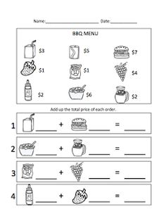 Worksheets Menu Math Worksheets math worksheets and change 3 on pinterest menu bbq unit theme www autismtank blogspot com