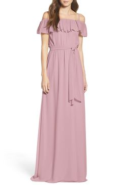 Ceremony by Joanna August Ruffle Off the Shoulder Chiffon Gown available at #Nordstrom